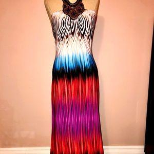 Vibrant beaded maxi dress